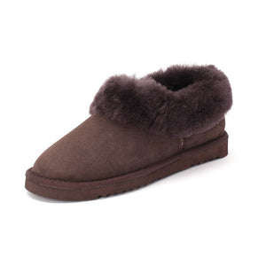 Sheep Touch Women's Balm Twin-Faced Sheepskin Closed-Back Slippers Chocolate