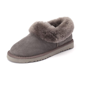 Sheep Touch Women's Balm Twin-Faced Sheepskin Closed-Back Slippers Grey