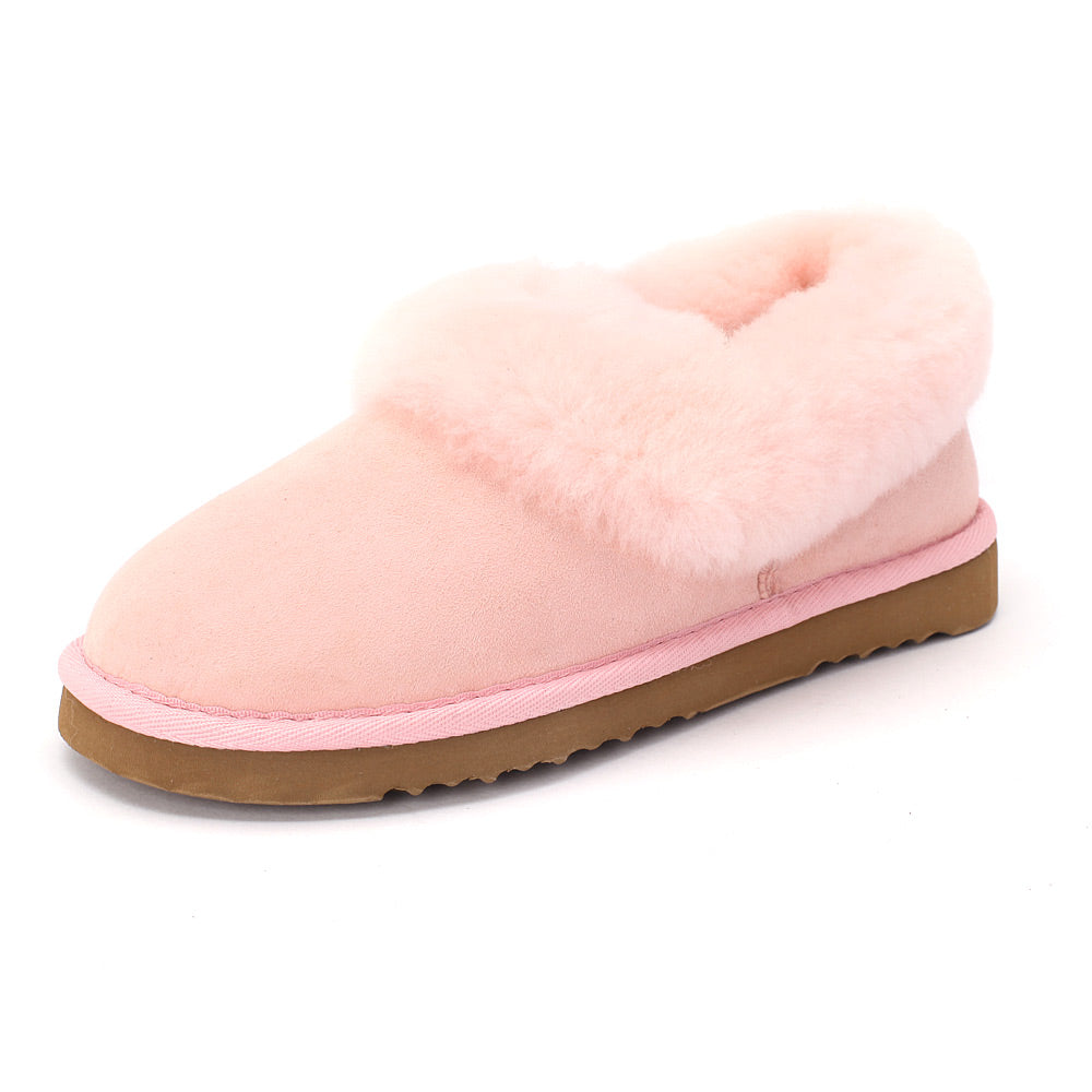 Sheep Touch Women's Balm Twin-Faced Sheepskin Closed-Back Slippers Pink