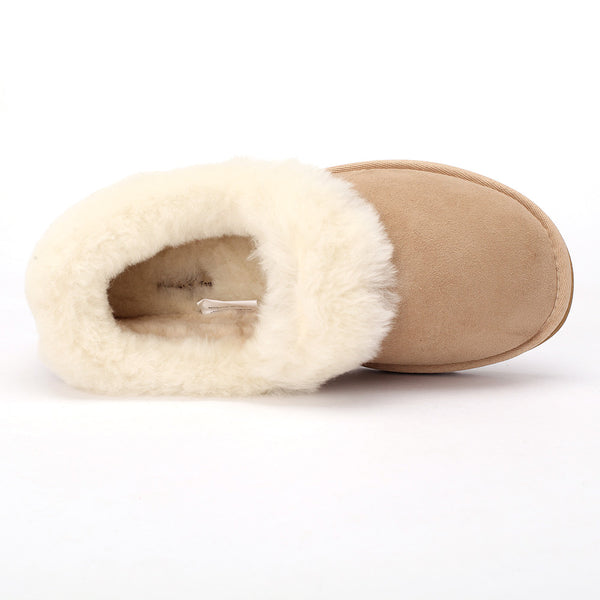 Sheep Touch Women's Balm Twin-Faced Sheepskin Closed-Back Slippers Sand