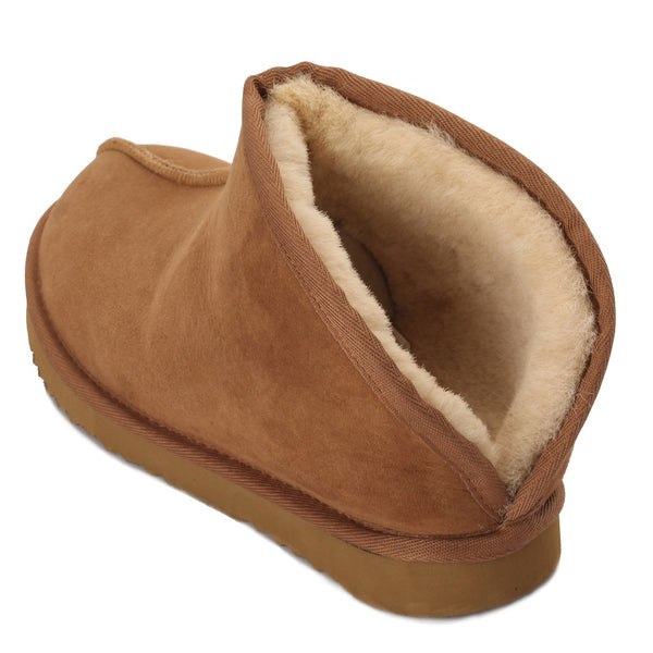 Sheep Touch Women's TULIP Twin-Faced Sheepskin Slippers Open-Back Chestnut