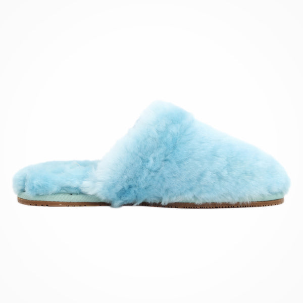 Sheep Touch Women's ALOSE Sheepskin Fluff Slippers Closed Toe Blue