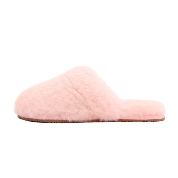Sheep Touch Women's ALOSE Sheepskin Fluff Slippers Closed Toe Pink