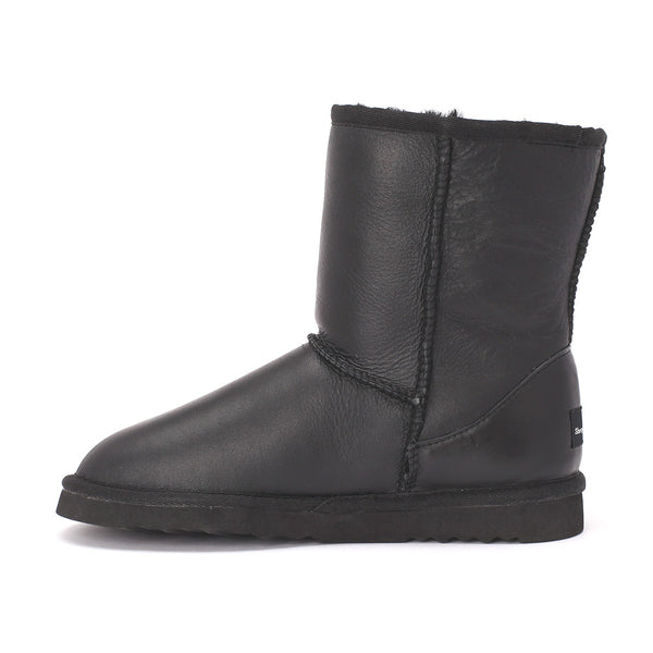 Sheep Touch Women's Classic Short Bomber Twin-Face Sheepskin Boots Black
