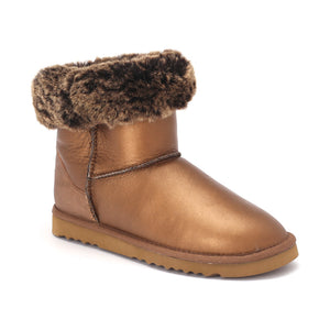 Sheep Touch Women's Classic Short Bomber Twin-Face Sheepskin Boots Plum