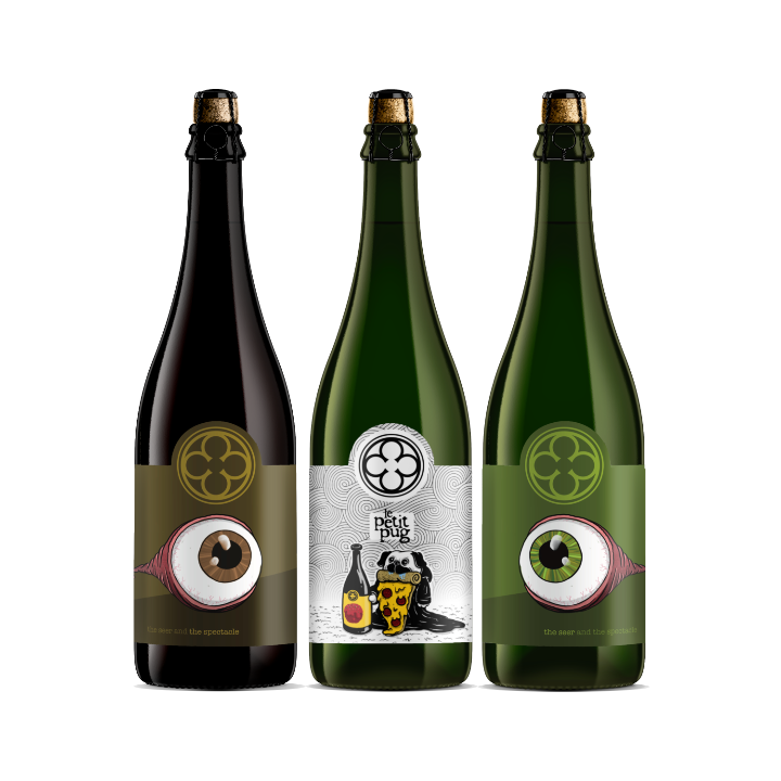 Mixed Bottle Set: The Seer and the Spectacle (BROWN & GREEN BOTTLES), Le Petite Pug (3 x 750ml bottles total)