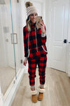 Red Plaid Pocket Drawstring Christmas Hooded Pajamas Set