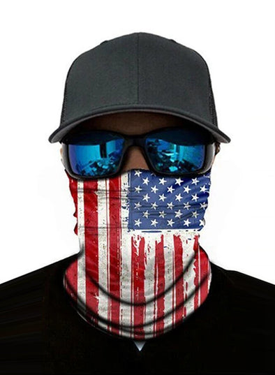 Unisex Bandanas Neck Gaiter Dust and Sun UV Protection (US Flag)