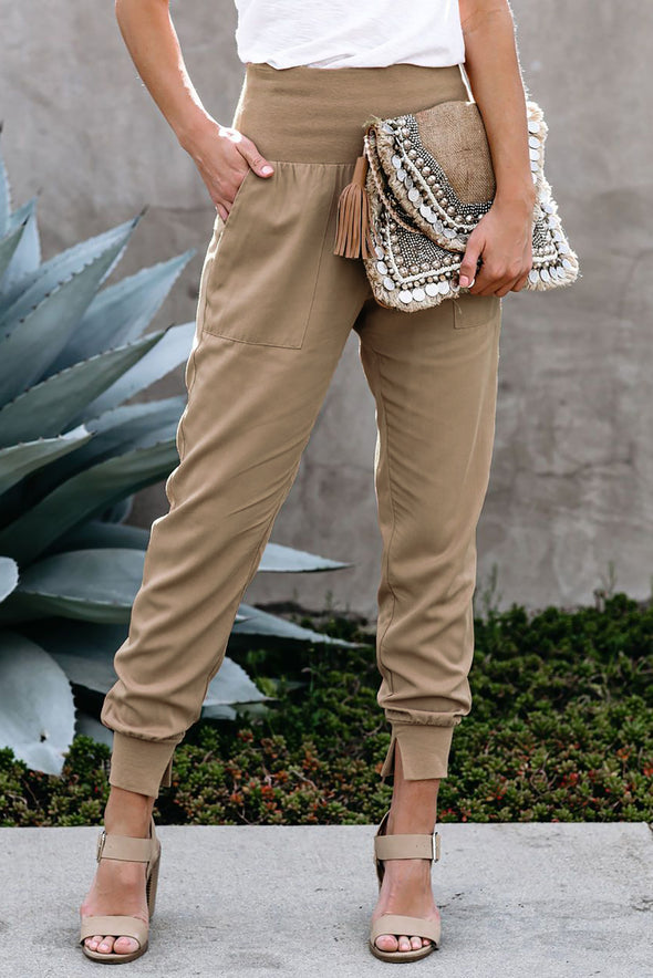 Khaki Pocketed Cotton Joggers