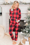 Women's Plaid Pocket Drawstring Christmas Hooded Pajamas Set