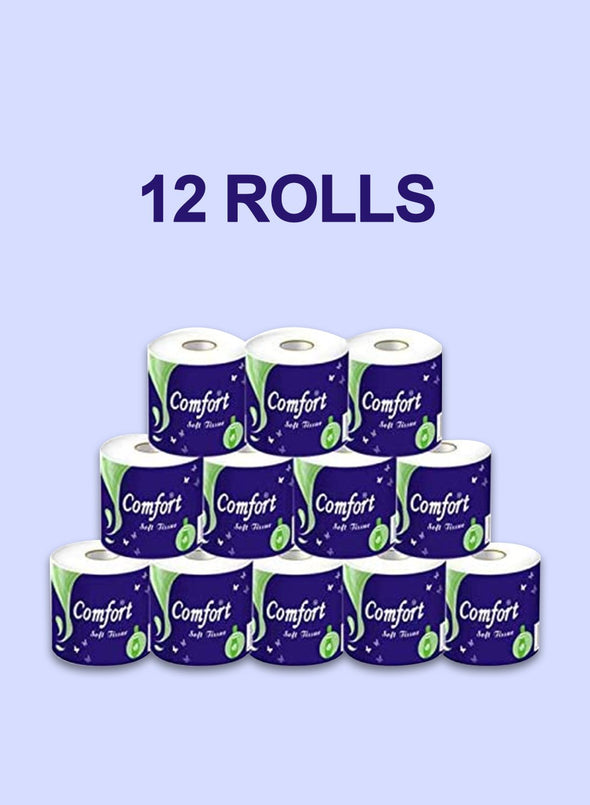 4 x 12 Rolls Hollow Natural Wood Pulp Soft Bath Toilet Paper Towels(Fast Shipping 3-5 Days)