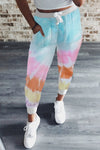 Multicolor Tie Dye Drawstring Waist Jogging Pants