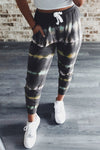 Gray Tie Dye Drawstring Waist Jogging Pants