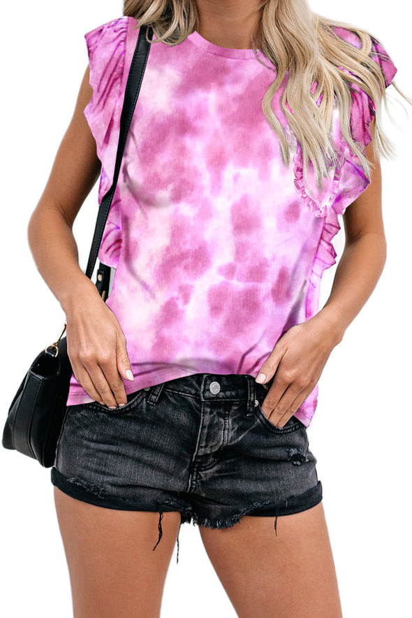 Tie-dye Ruffled Cap Sleeve T-shirt