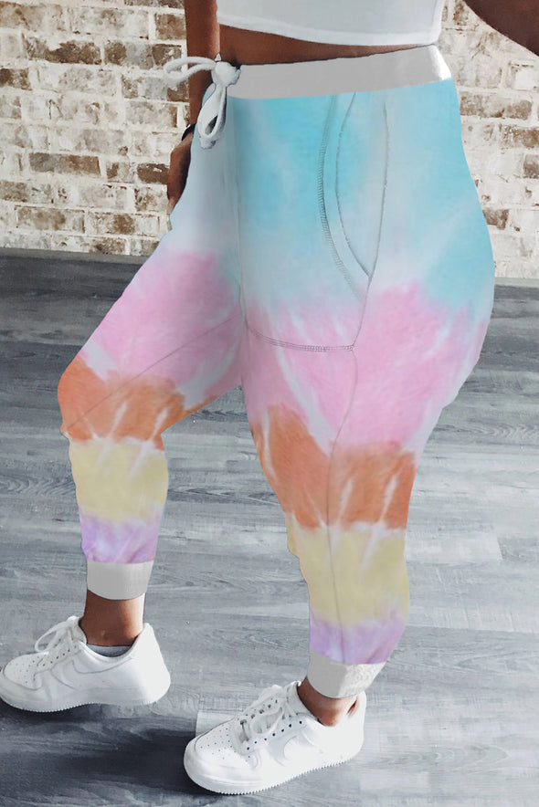 Women's Tie Dye Drawstring Waist Jogging Pants