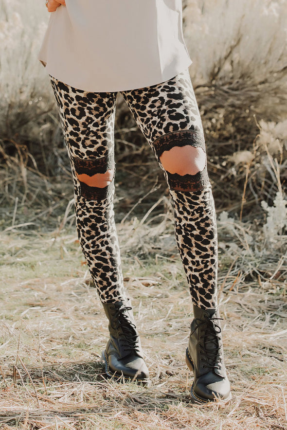 Women's Floral Hollow Out Leopard Printed Skinny Leggings
