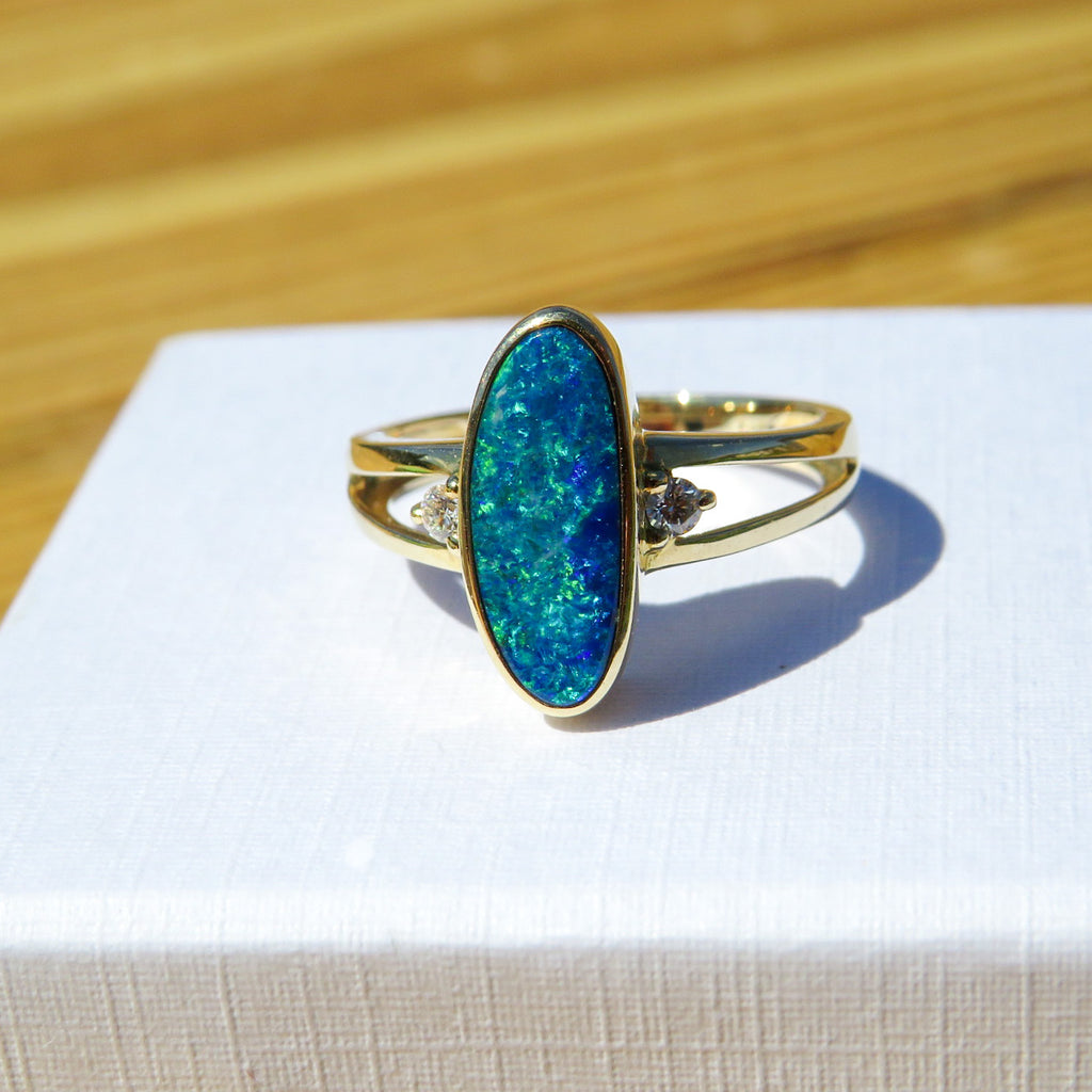 Blue Opal & Diamond Ring