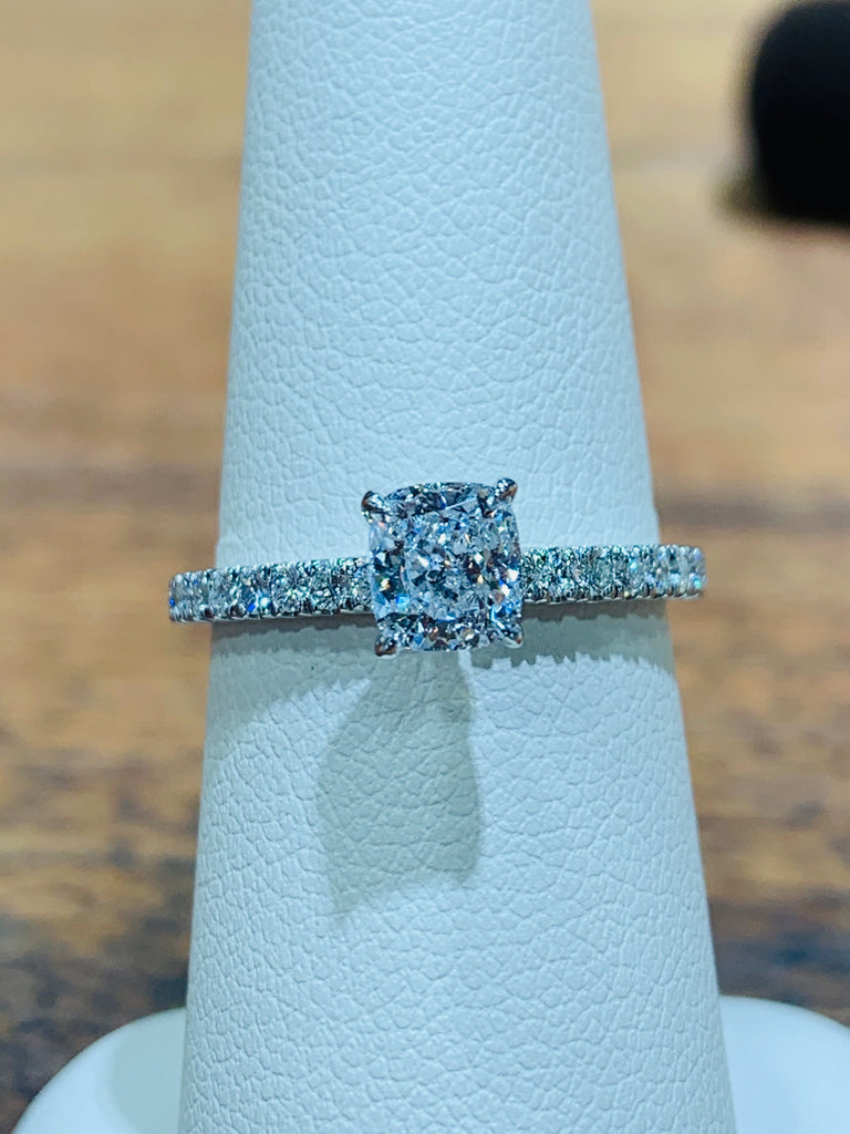 Cushion-Cut Classic Pavé Engagement Ring - THE VILLAGE JEWELER