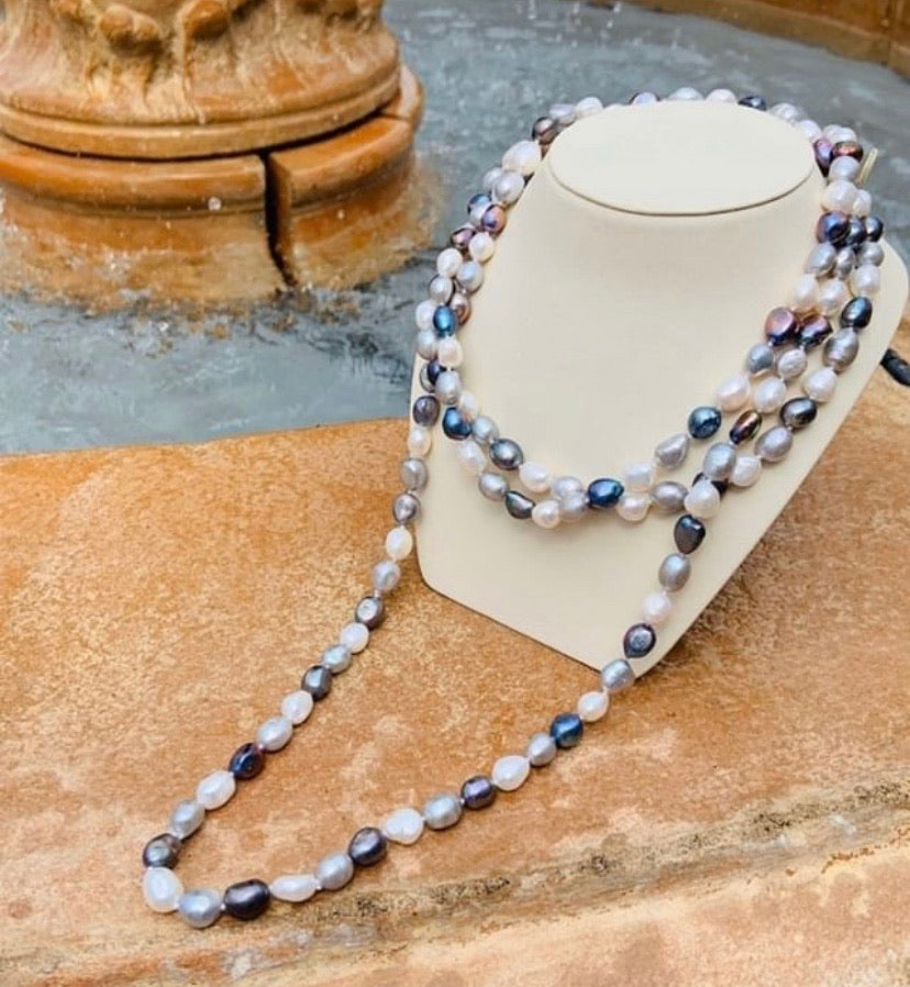 Multi-Colored Opera Length Freshwater Pearl Strand - TVJGNV