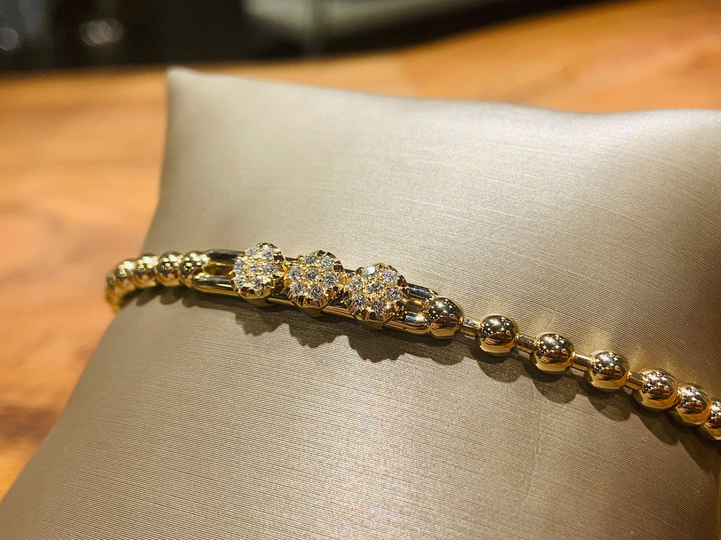 18K Yellow Gold Stretchy Diamond Station Bracelet - THE VILLAGE JEWELER