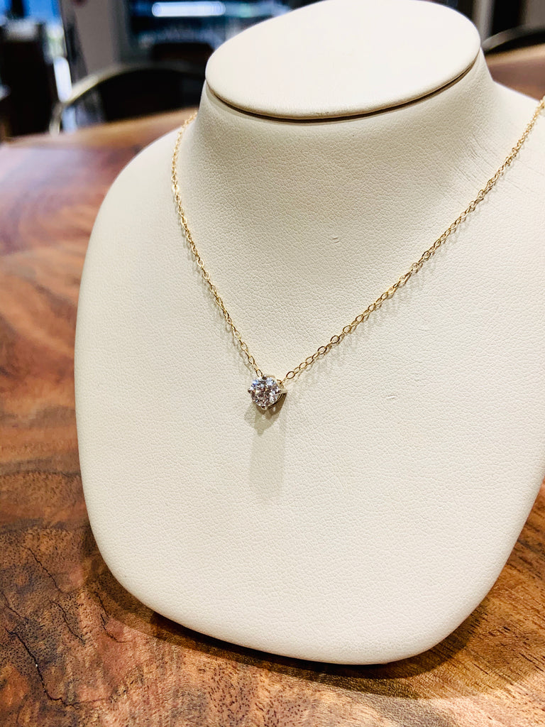 Two Tone Diamond Solitaire Necklace - THE VILLAGE JEWELER