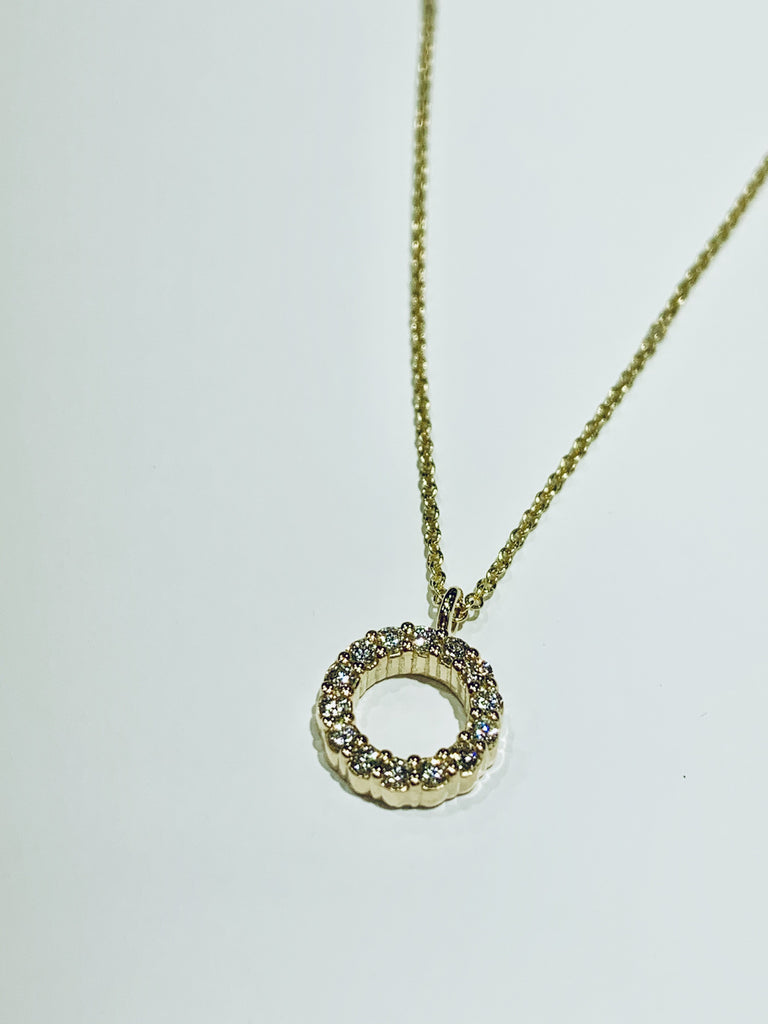 Yellow Gold Diamond Circle Pendant - TVJGNV
