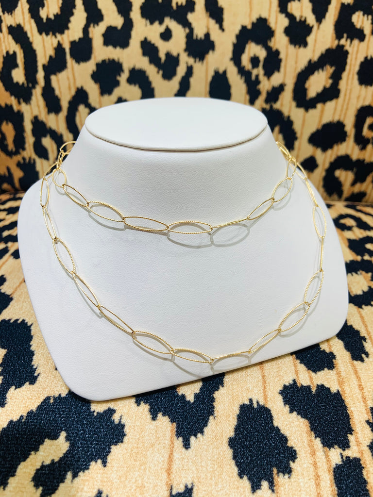 Gold Filled Textured Link Necklace - TVJGNV