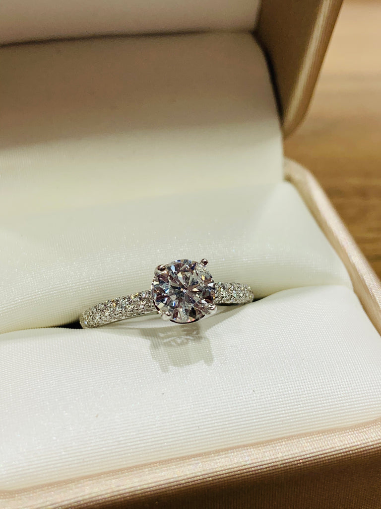 Triple Row Diamond Pavé Engagement Ring - TVJGNV