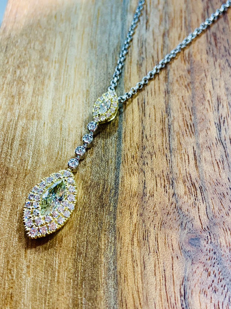 Two Tone Yellow Diamond Drop Necklace - THE VILLAGE JEWELER