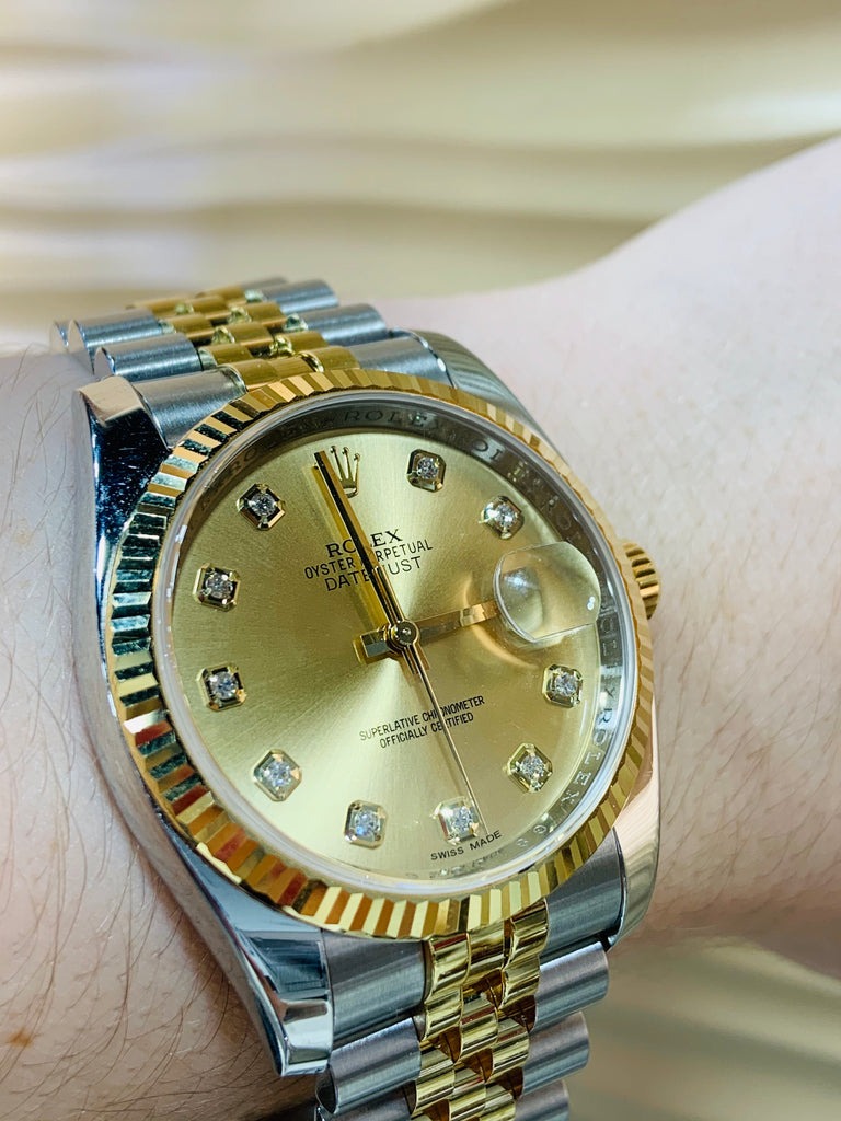 Rolex Two-Tone Diamond Dial Datejust - THE VILLAGE JEWELER