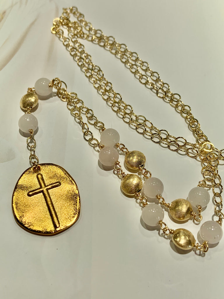 Gold-Filled Rose Quartz Cross Lariat - THE VILLAGE JEWELER
