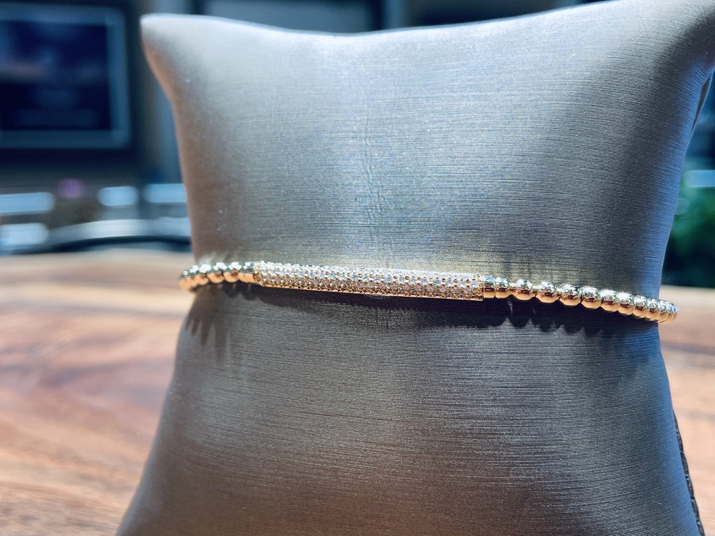 18K Yellow Gold Diamond Bar Bracelet - THE VILLAGE JEWELER