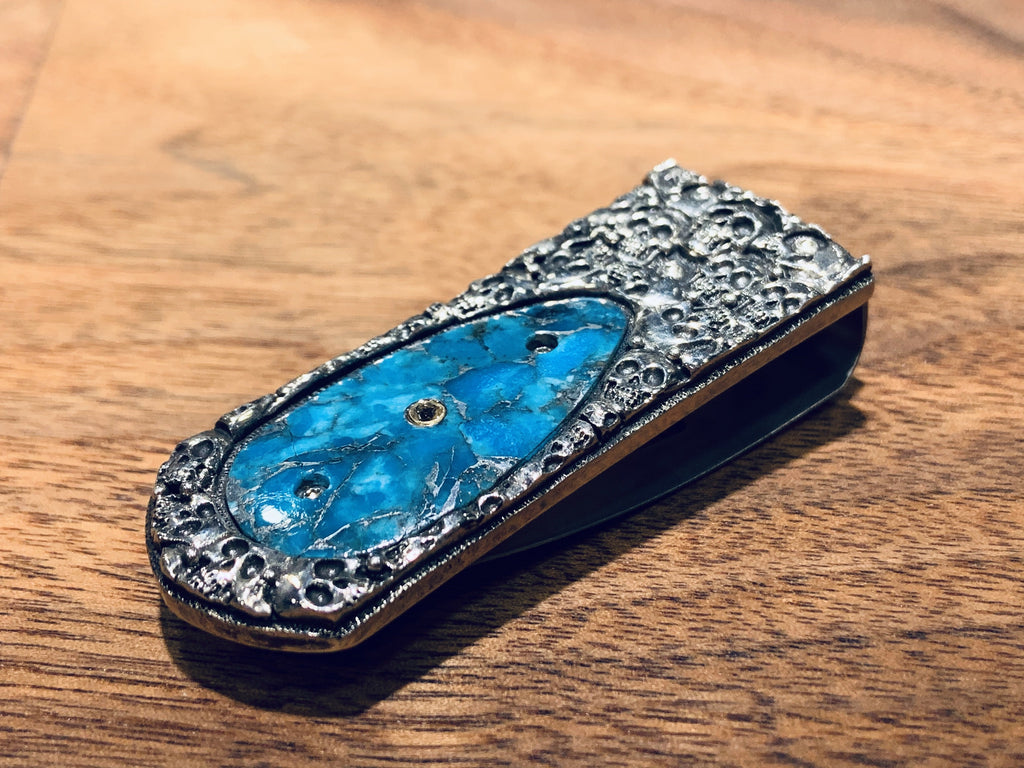 Hand-Carved Turquoise Money Clip - THE VILLAGE JEWELER