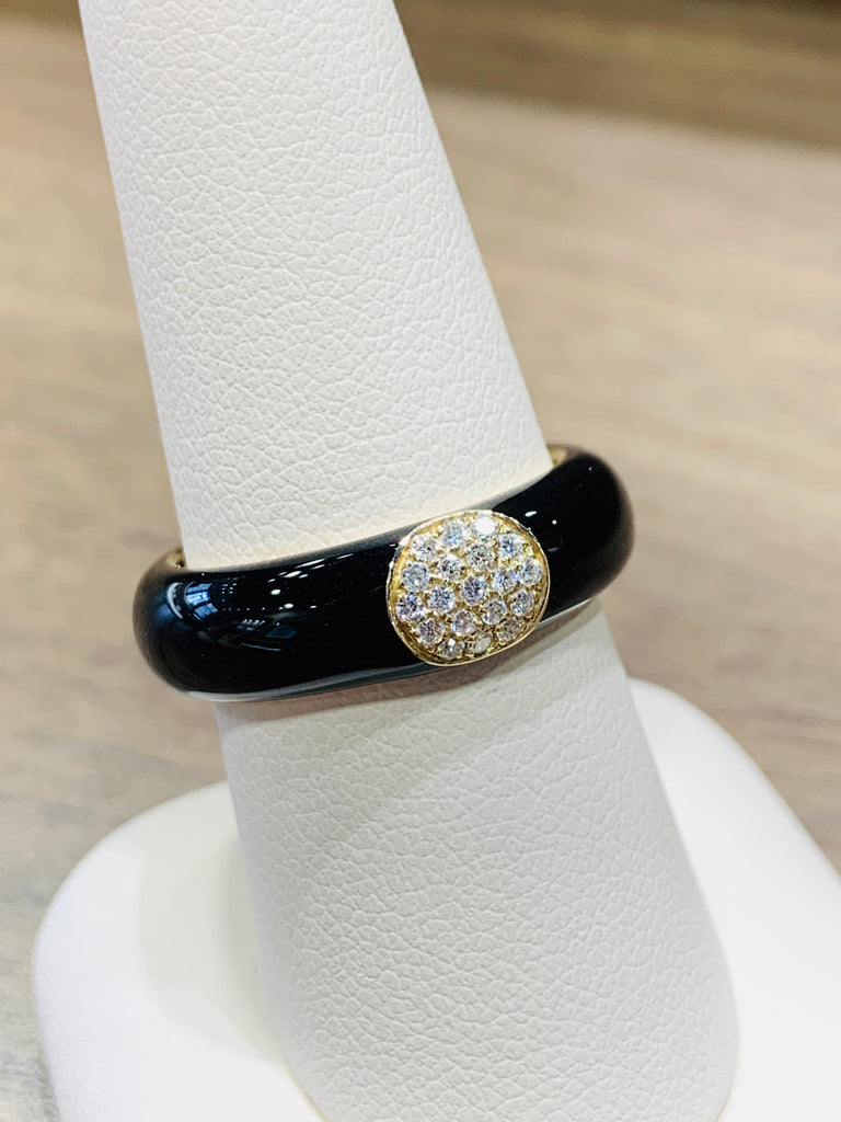 Adjustable Black Enamel Diamond Band - THE VILLAGE JEWELER