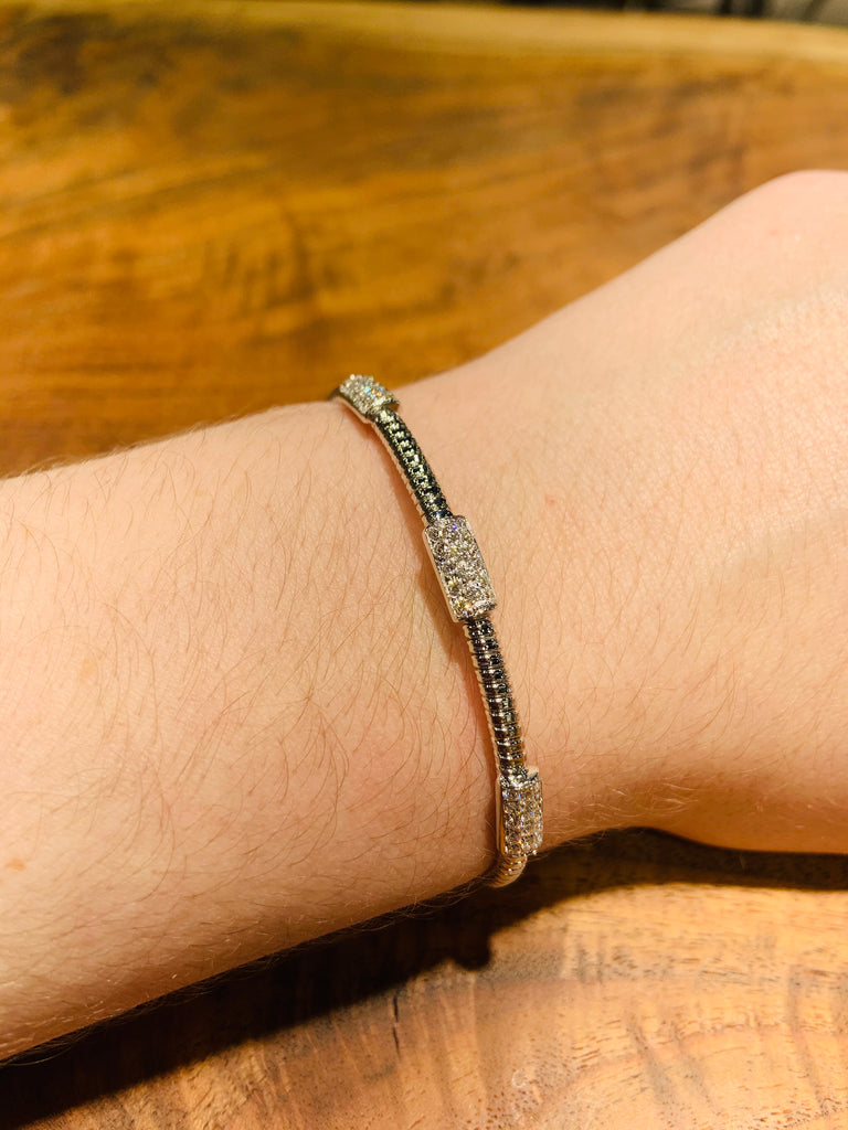 White Gold Diamond Station Bangle - THE VILLAGE JEWELER