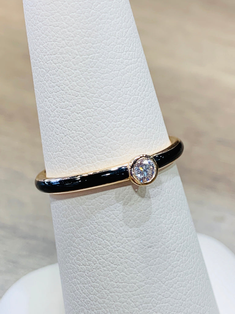 Black Enamel Diamond Band - THE VILLAGE JEWELER
