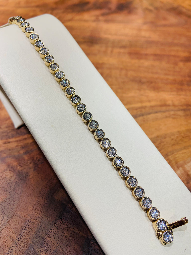 Yellow Gold Champagne Bubble Diamond Tennis Bracelet - THE VILLAGE JEWELER