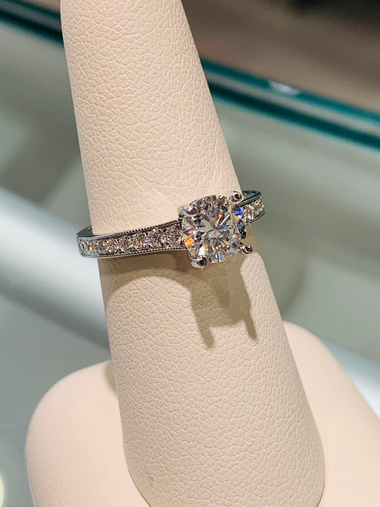 Beaded Channel Diamond Engagement Ring - THE VILLAGE JEWELER