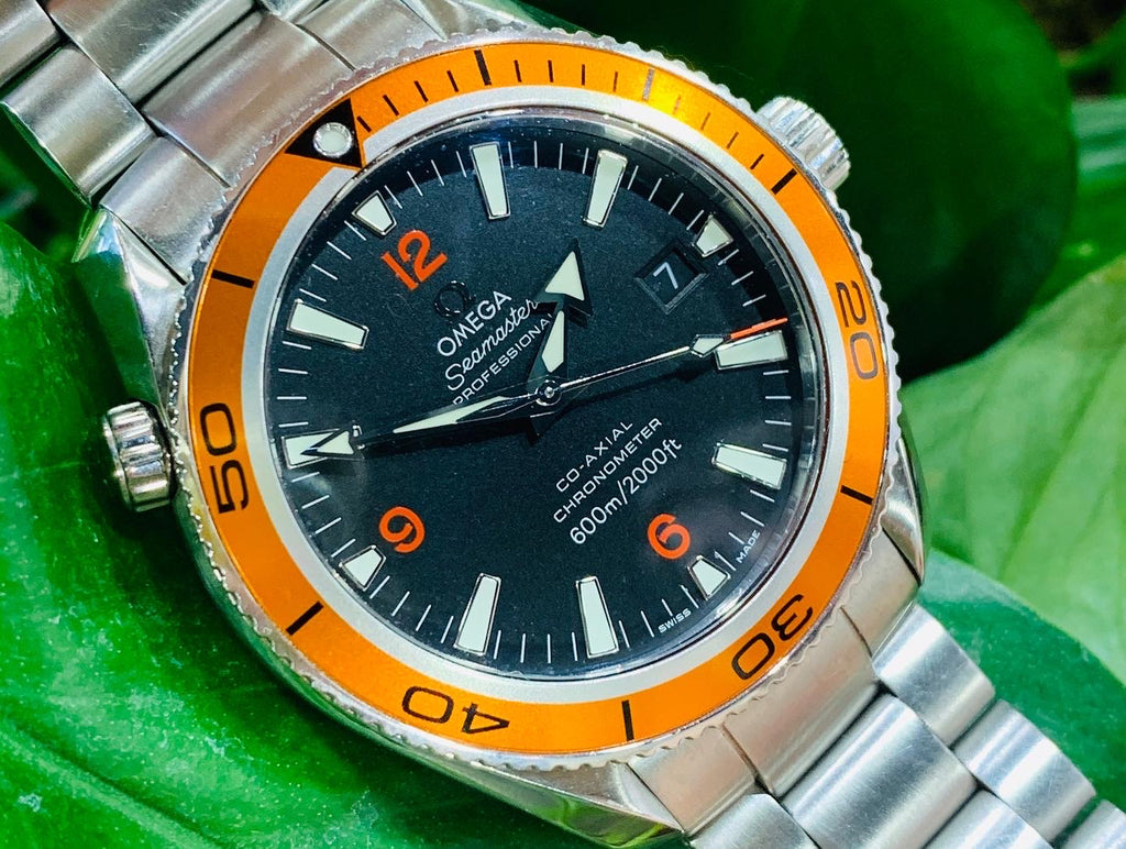 Omega Seamaster Planet Ocean With Orange Bezel - THE VILLAGE JEWELER