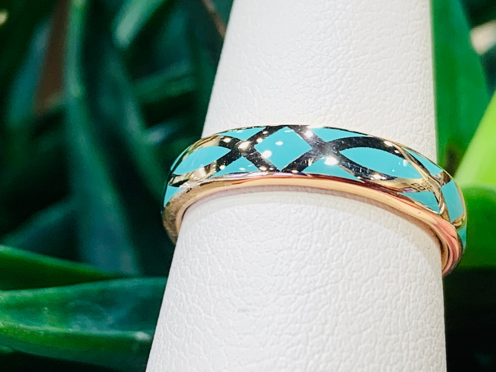 Turquoise & Rose Gold Band - THE VILLAGE JEWELER