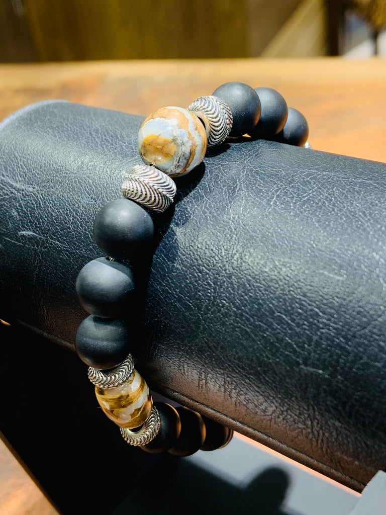 Men's Large Beaded Mammoth Tooth & Onyx Bracelet - THE VILLAGE JEWELER