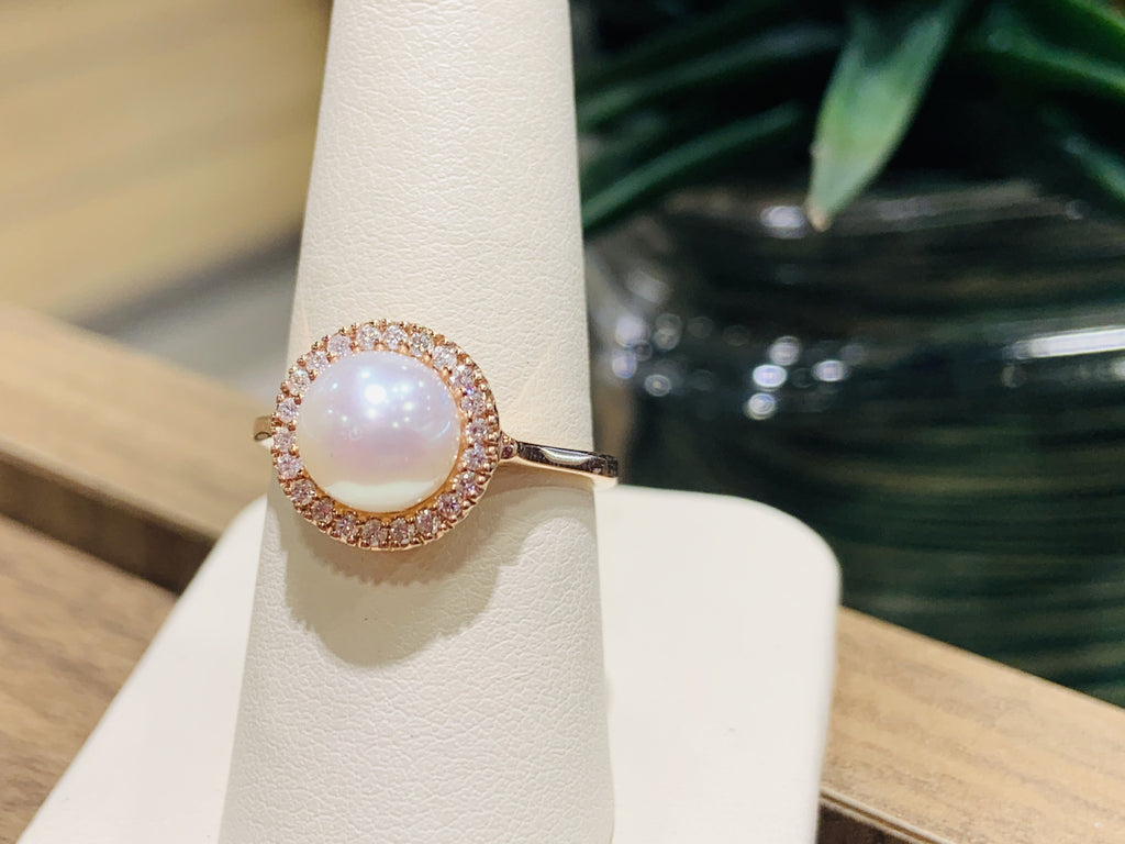 Rose Gold Pearl & Diamond Ring - THE VILLAGE JEWELER
