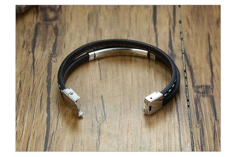 Leather Bracelet Customisable Engraving Stainless Steel