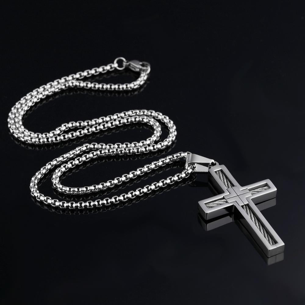Wire Cross Pendant Necklace Silver