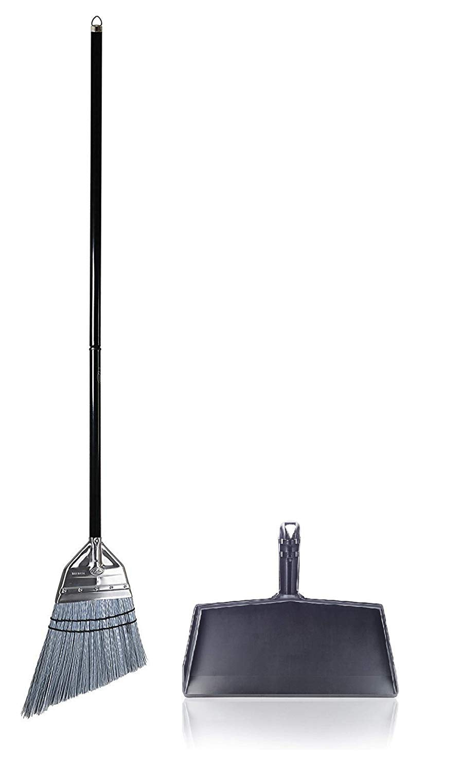 Angle Broom with Clip-On Plastic Dustpan