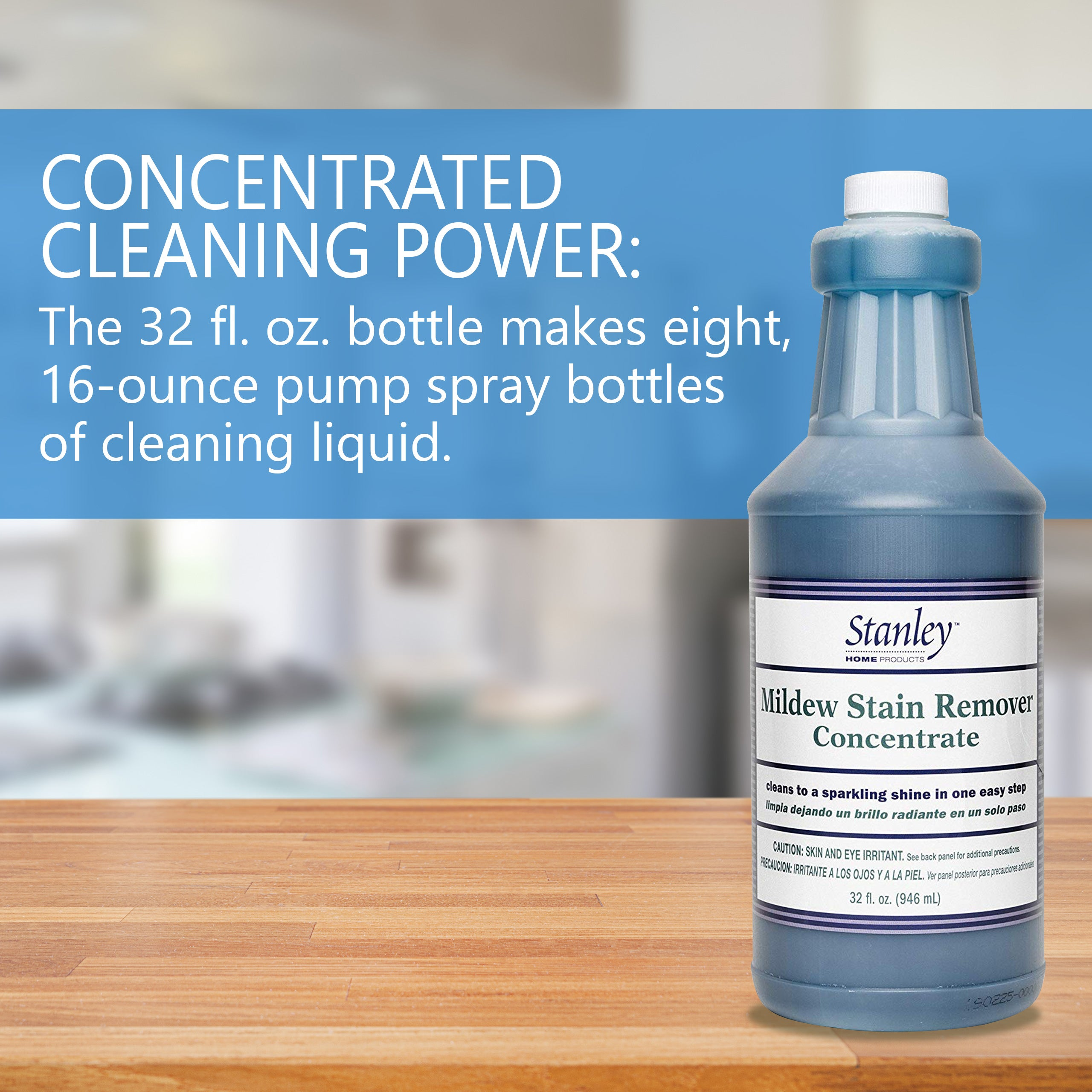 Mildew Cleaner & Stain Remover Concentrate - Bleach Free Dirt, Algae, & Mold Cleaner