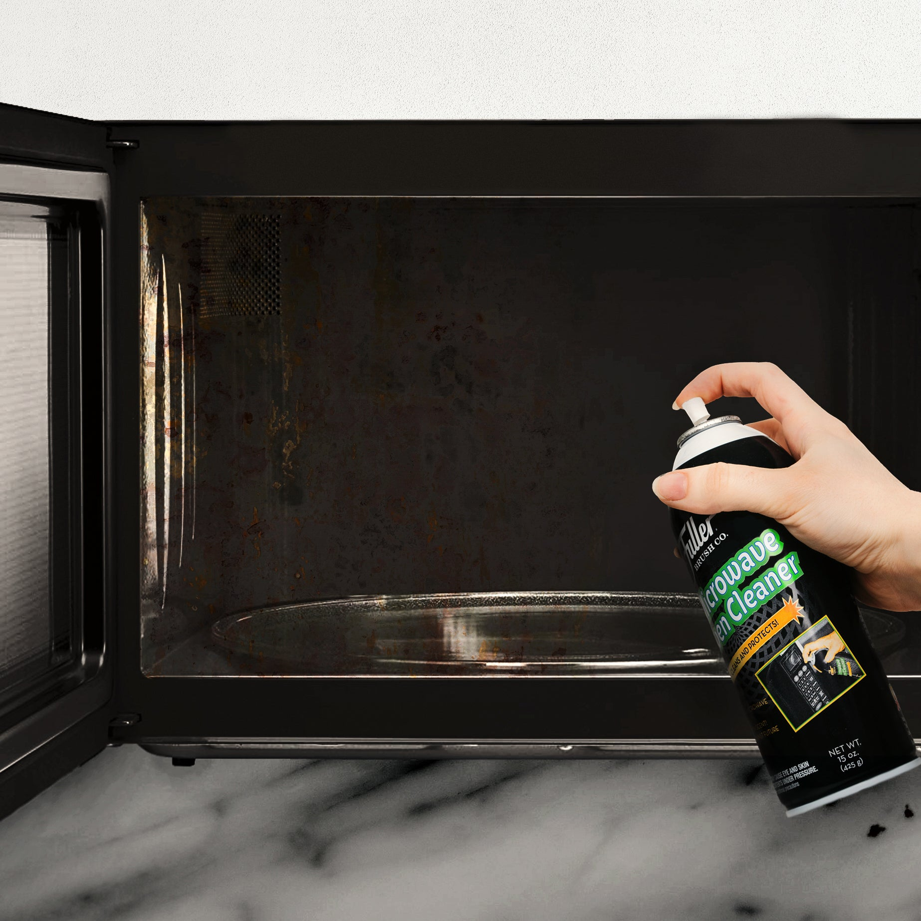 Microwave Oven Cleaner Lemon Scented Spray Foam. Removes Food and Grease