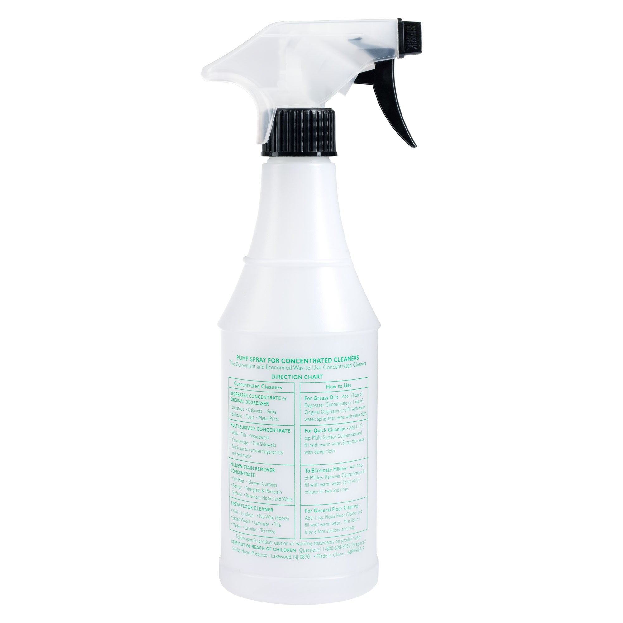 Pump Spray Refillable Bottle for Concentrated Cleaners