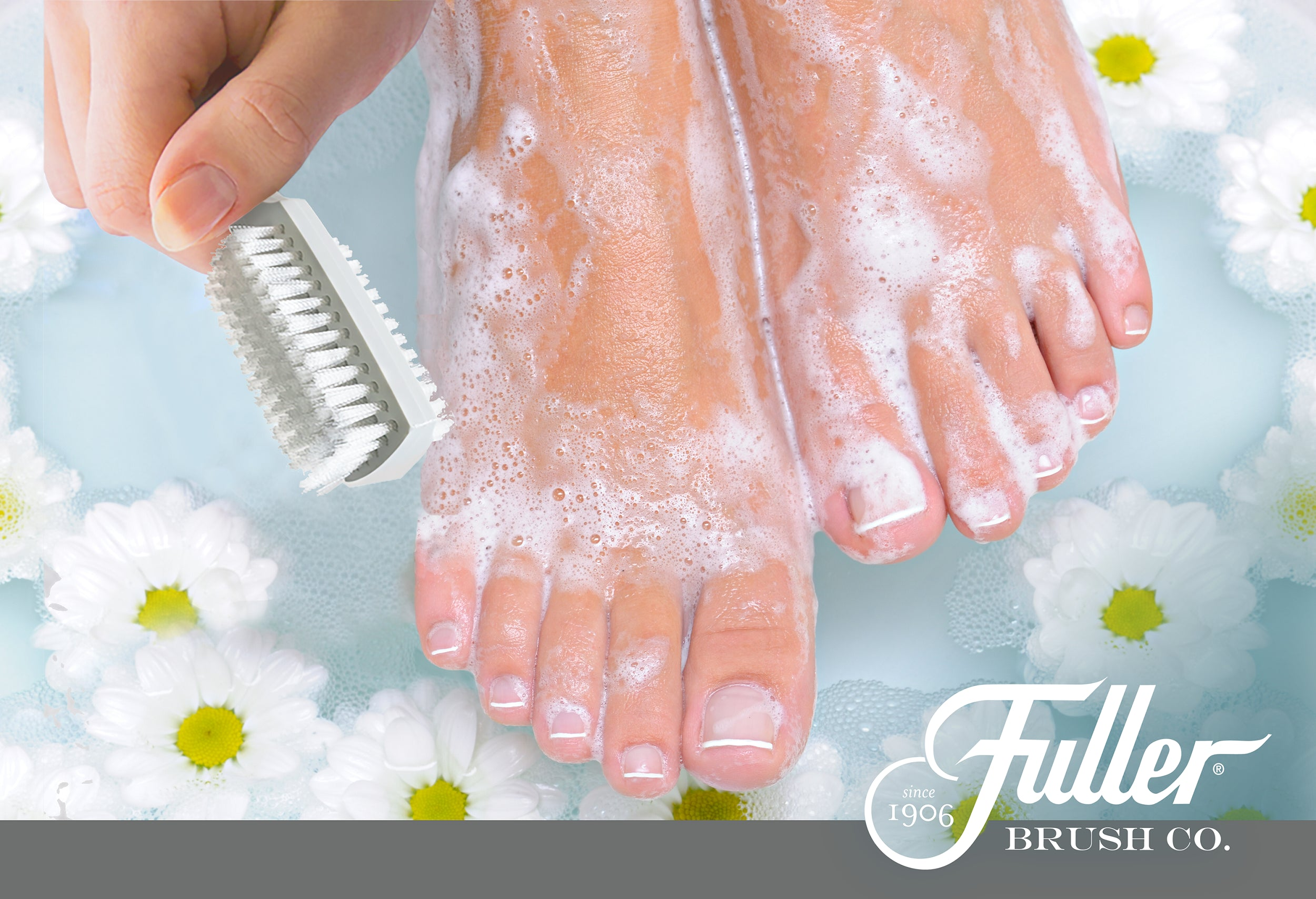 Hand & Nail Brush. Double Sides of Bristles Use Wet or Dry - Easy Hold Handle