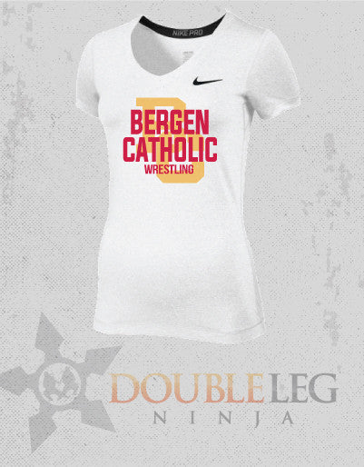 Bergen Catholic Alumni - Nike Women's Pro Short Sleeve V-Neck , Short Sleeve Shirt - Double Leg Ninja, Double Leg Ninja